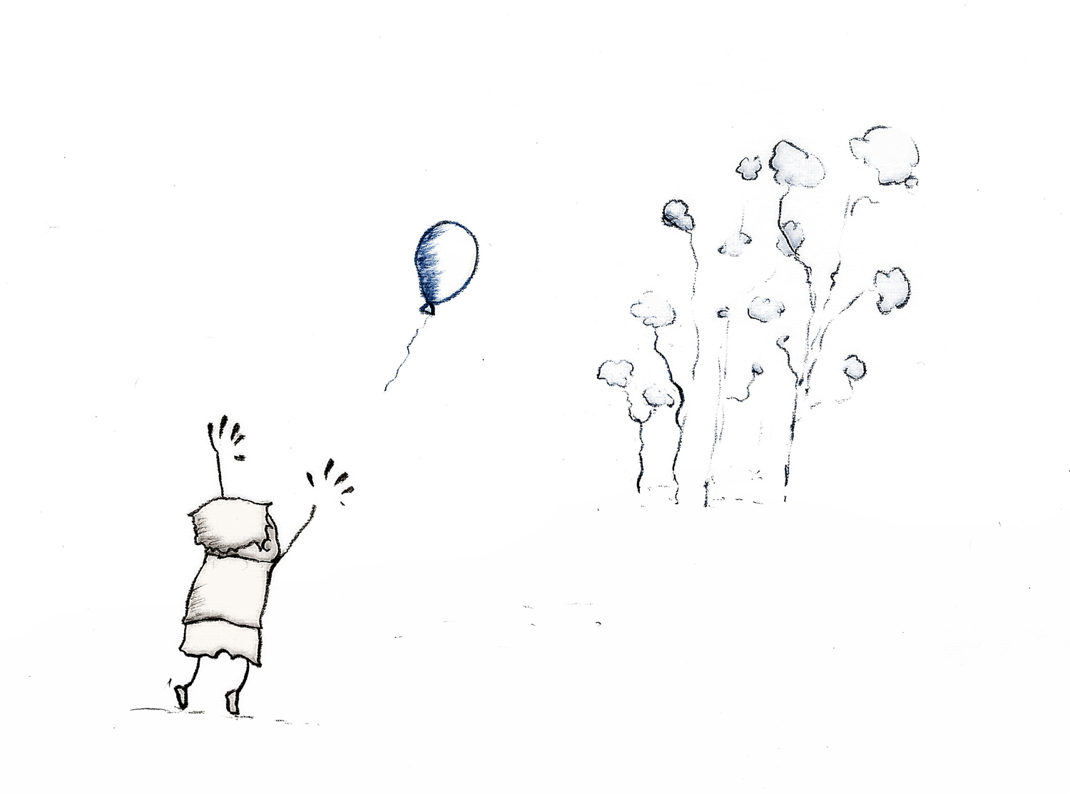 Boy and balloon pencil sketch boy and balloon